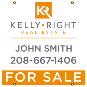 KELLEY RIGHT ORANGE GRAY FOR SALE 24X24 YARD SIGN
